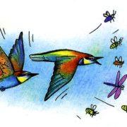 птица золотистая щурка ловит ос