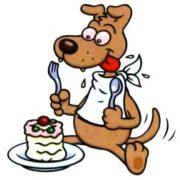Собачка кушает торт - смешные картинки