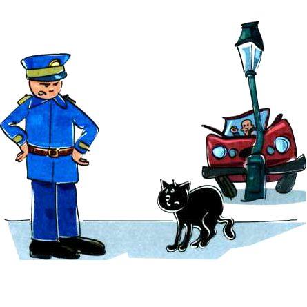 Черная кошка перебежа дорогу