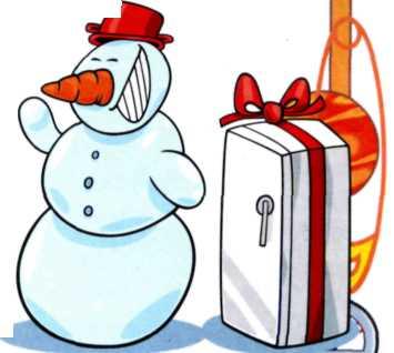 Веселые картинки - Снеговик и холодильник