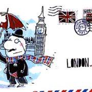 Старая открытка - с приветом из Лондона, города дождей и интеллигенции.